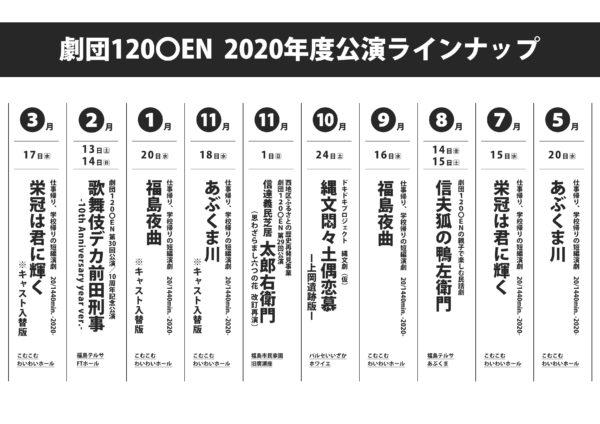 劇団120○EN 2020年度公演ラインナップ